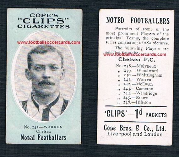 1908 Cope Brothers Noted Footballers 282 series Chelsea Warren 241